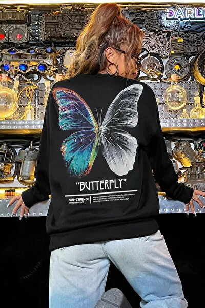 Kadın Siyah Butterfly Oversize Sweatshirt