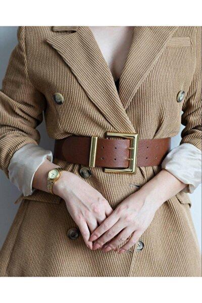 Kadın Gold Tokalı Çift Sıra Kahverengi Kemer