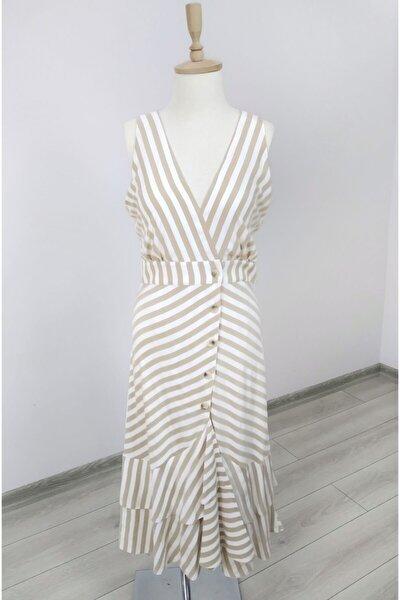 Kadın Kruvaze Yaka Volanlı Elbise