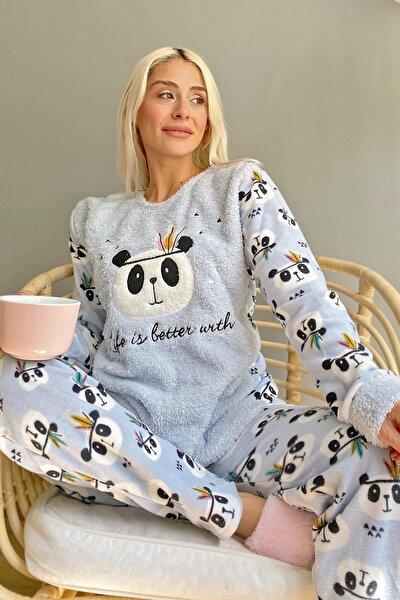Mavi Life Panda Desenli Kadın Peluş Pijama Takımı