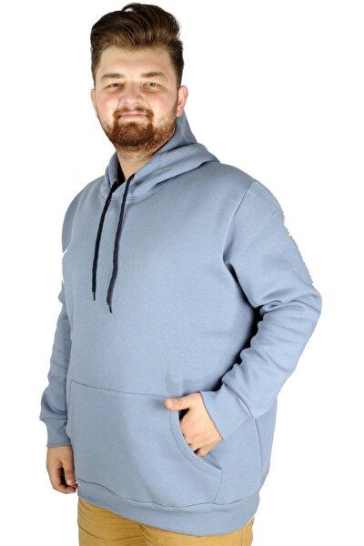Erkek Sweatshirt Kapşonlu Pocket Basic 20562 Mavi