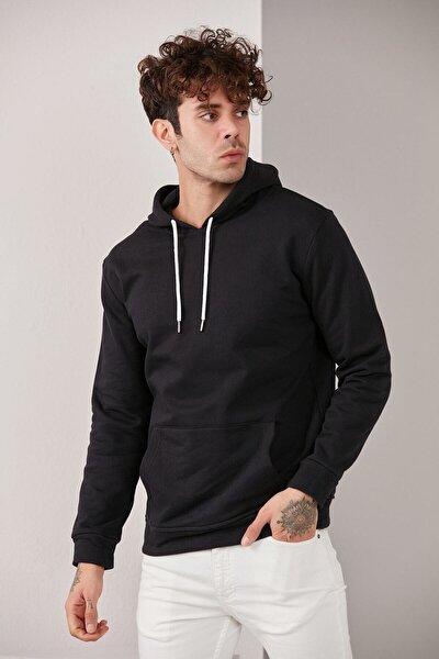Erkek Kapüşonlu Basic Örme Sweatshirt