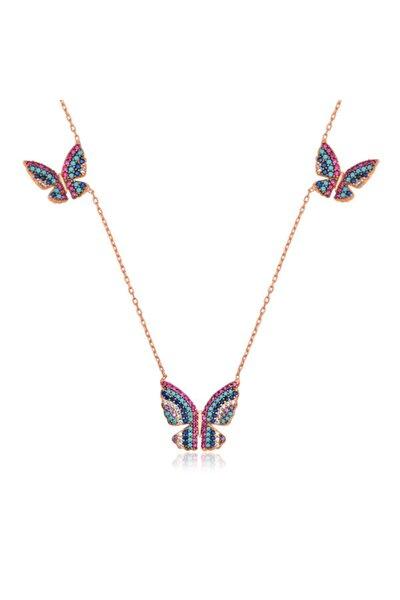 Uçan Kelebekler Kadın Gümüş Kolye