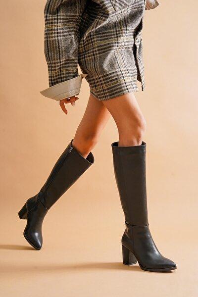 Kleo Siyah Deri Topuklu Yanı Fermuarlı Günlük Kullanım Çizme