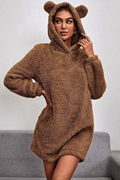 Kahverengi Kapşonlu Teddy Peluş Sweatshirt