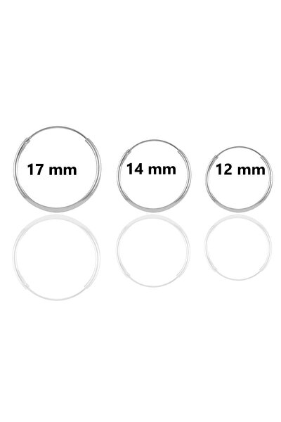 Gümüş Rodyumlu Üç Boydan Oluşan Halka Kombin Küpeler