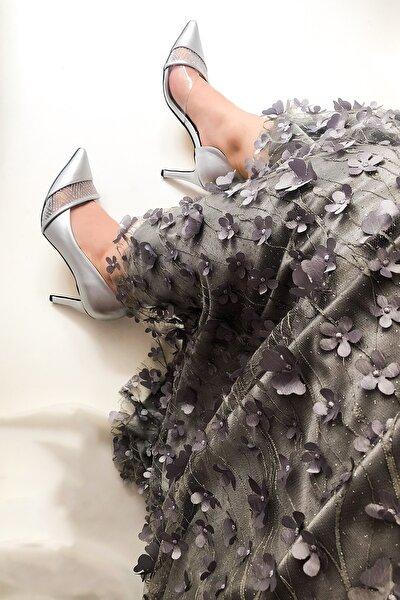 Julia Gri Mat Şık Topuklu Ayakkabı