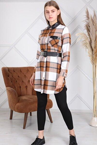 Kadın Kemerli Deri Detaylı Cepli Oduncu Ekose Kışlık Elbise 4350/90