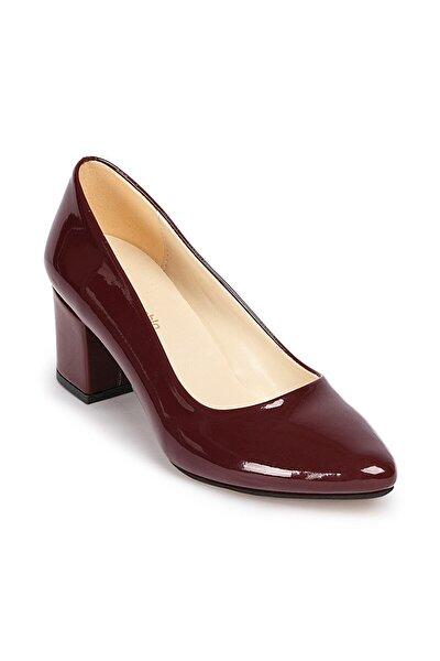 L4 Bordo Orta Topuklu Kadın Ayakkabı