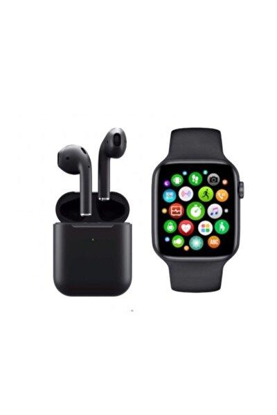 Unisex Siyah Akıllı Saat T500 + Airpods I12 Kablosuz Kulaklık Ikili