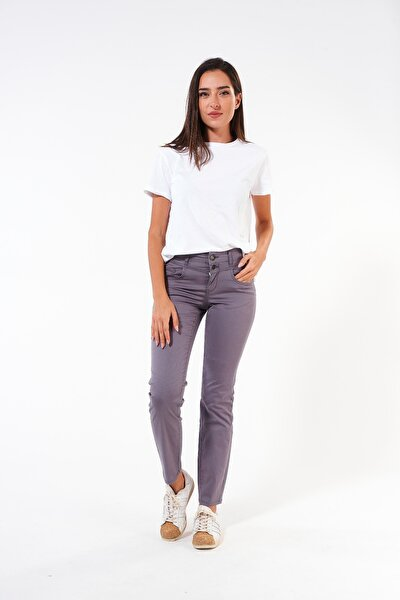 Yüksek Bel Normal Kesim Non-denim Kadın Pantolon