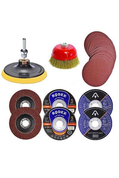 25 Parça Avuç Içi Spiral Taşlama Makinesi Cırt Zımpara Flap Inox Metal Kesme Kesici Disk Seti 115 Mm
