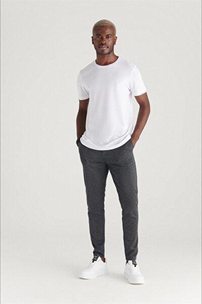 Erkek Antrasit Yandan Cepli Pileli Ekoseli Beli Lastikli Kordonlu Çizgili Relaxed Fit Pantolon