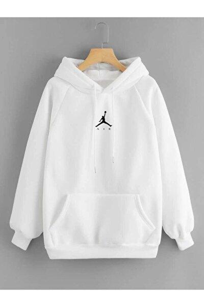 Erkek Beyaz Kapişonlu Sweatshirt Jkr45