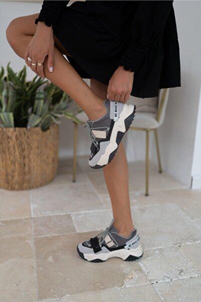 Brecka Kadin Gri Siyah Sneakers