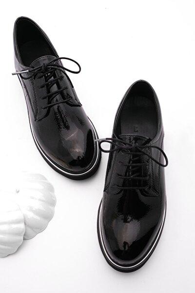 Kadın Oxford Ayakkabı Tervasiyah Rugan