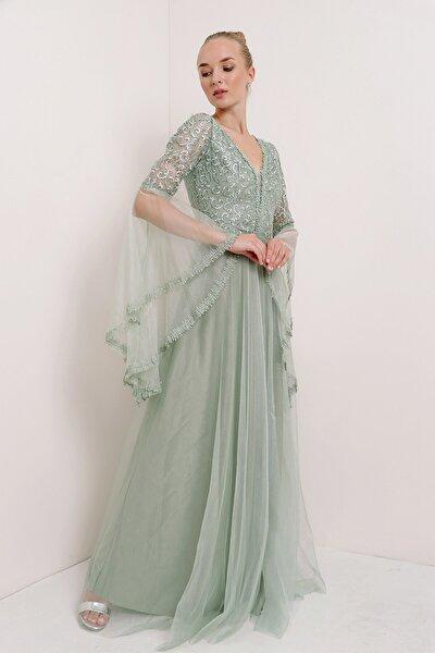 Kadın Mint Kolu Volanlı Üzeri Dantel Tül Abiye Elbise