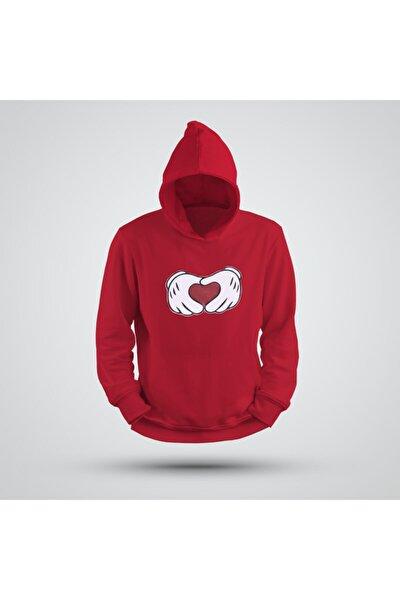 Kapşonlu Avuç Kalp Sweatshirt