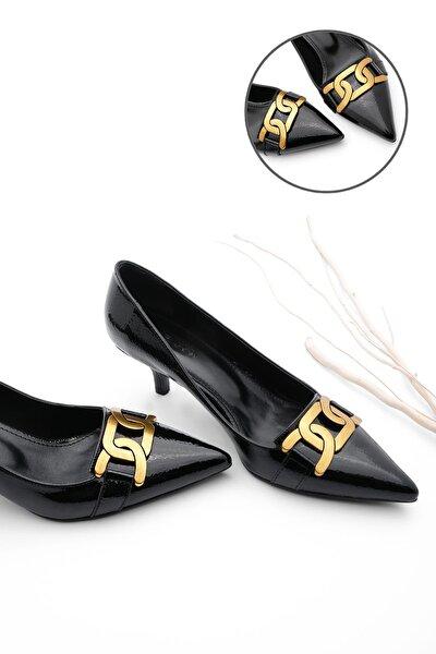 Kadın Stiletto Topuklu Ayakkabı ForteSiyah Rugan