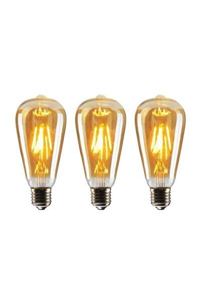 St64 Flamanlı 4w Rustik Led Ampul 3'lü Paket Dekoratif Vintage Aydınlatma Amber Rengi