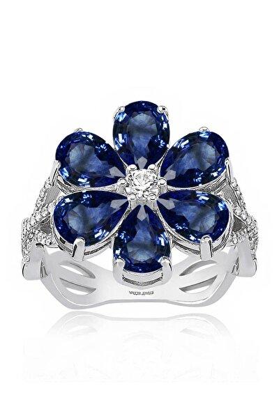 4 Karat Zirkon Mavi Damla Taşlı, Manolya Çiçek Gümüş Yüzük