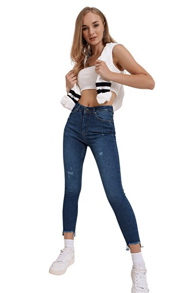Kadın Koyu Mavi U Paça Kot Pantolon