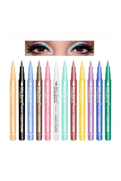 12 Renk Pen Eyeliner Seti