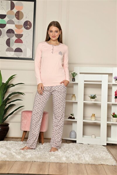 Kadın Somon Şal Desen Pamuk Likra Uzun Kol Mevsimlik Pijama Takımı