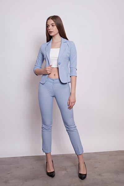 Desenli Duble Kol Kısa Blazer Kumaş Ceket-mavi