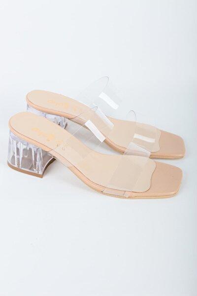 Kadın  Nude Şeffaf Bantlı Topuklu Ayakkabı
