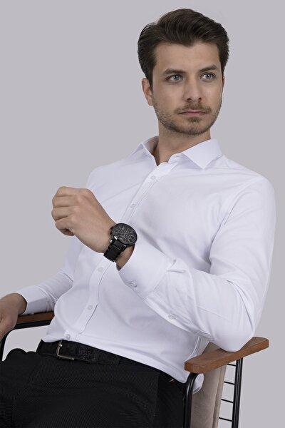 Sedef Düğmeli Beyaz Slimfit Gömlek