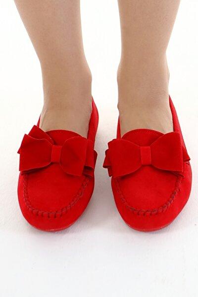 Kırmızı Fiyonklu Kadın Günlük Casual Sneaker Babet Ayakkabı Byndmot02