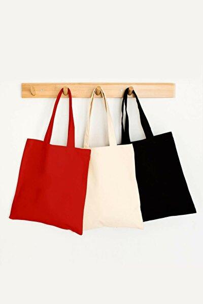 Baskısız Krem Kırmızı Siyah Bez Çanta