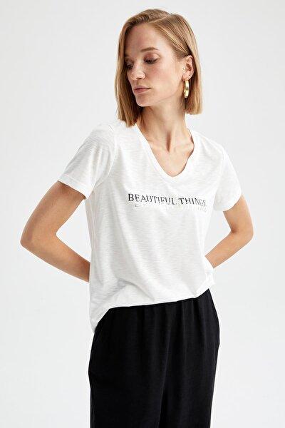 Silver Varak Slogan Baskılı V Yaka Kısa Kollu Tişört