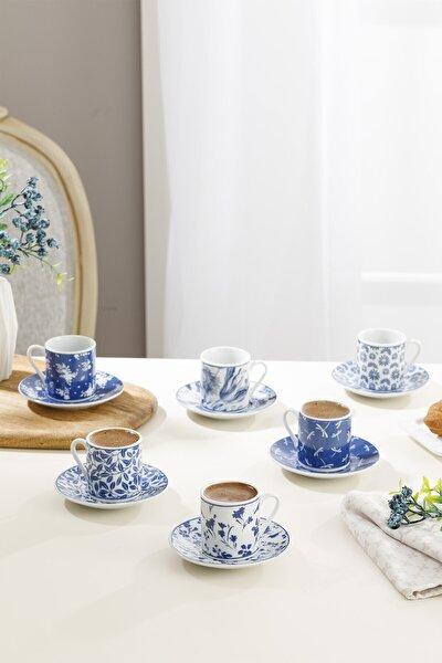 Bella Porselen 6'lı Kahve Fincan Takımı 80 Ml Lacivert