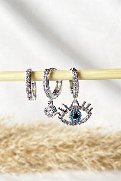 Gümüş Renk Göz Figürlü Zirkon Taşlı Küpe Set