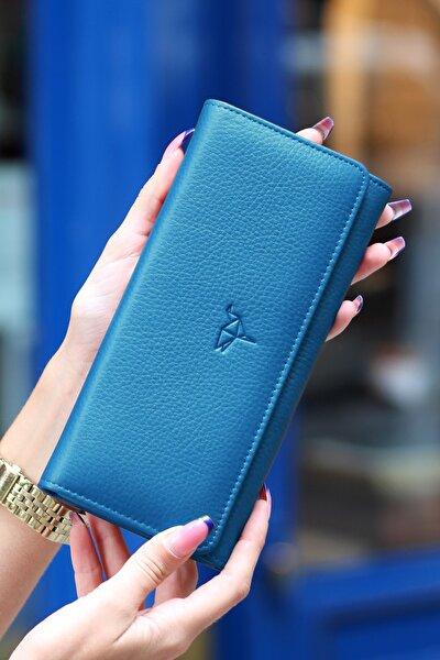 Angel Hakiki Deri Cep Telefonu Bölmeli Petrol Mavisi Kadın Cüzdanı