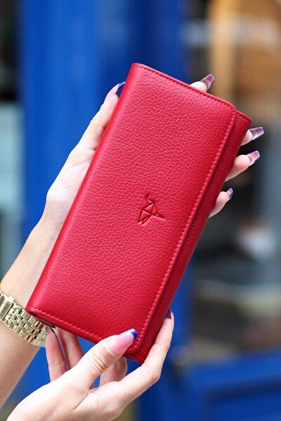 Kadın Kırmızı Angel Hakiki Deri Cep Telefonu Bölmeli Cüzdanı