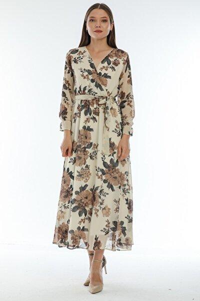 Kadın Bej Kruvaze Anvelop Büyük Beden Elbise