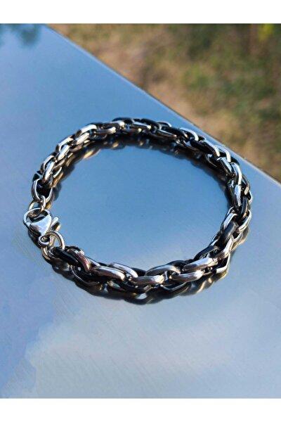 Erkek Siyah-gri Çelik Kalın Model Bileklik
