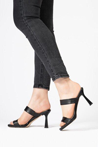 Hakikiderikadın Terlik Lastik Bantlı Platform Topuklu Sandalet