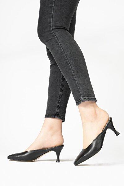 Hakiki Deri Kadın Terlik Arkası Açık Küt Burunlu Topuklu Ayakkabı