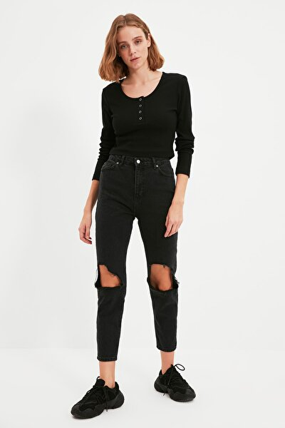 Siyah %100 Organik Pamuk Yırtıklı Yüksek Bel Mom Jeans TWOAW22JE0233
