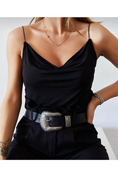 Kadın Siyah Degaje Yaka Askılı Bluz 0yzk2-10305