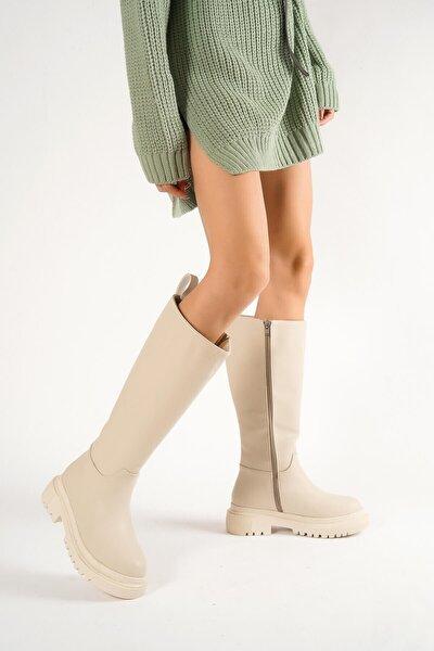Blanca Nude Deri Çekme Günlük Kadın Çizme
