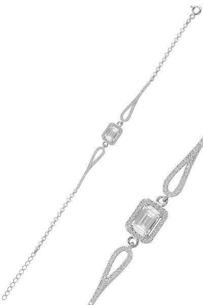 Gümüş Rodyumlu Pırlanta Modeli Zirkon Taşlı Baget Bileklik
