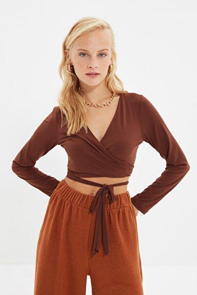 Kahverengi Bağlama Detaylı Örme Bluz TWOAW21BZ0875