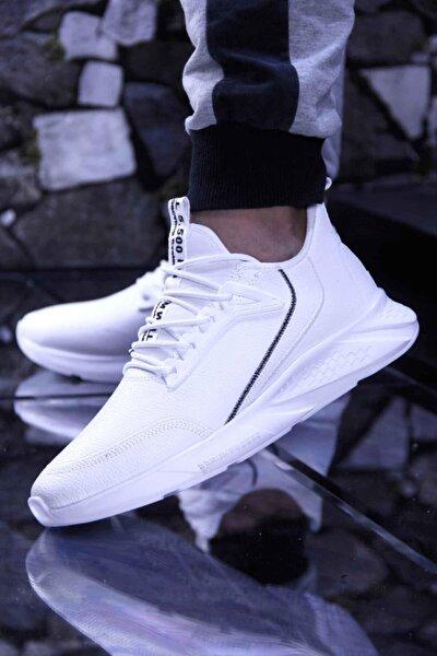 Rahat, Hafif Ve Esnek Günlük Suya Dayanıklı Erkek Spor Ayakkabı 3 Renk Beyaz, Siyah Ve Siyah Beyaz B