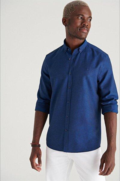 Erkek Lacivert Oxford Düğmeli Yaka Regular Fit Gömlek E002000