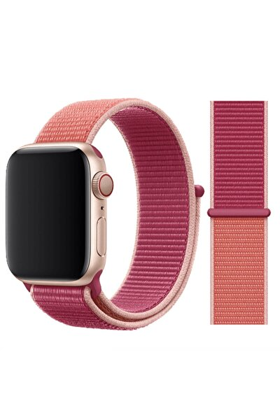 Apple Watch 2 3 4 5 6 Se Uyumlu 38 Mm Ve 40 Mm Için Dokuma Kordon Kayış - Nar
